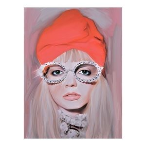 FRAMED GUCCI RUNWAY MODEL PAINTING